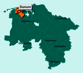 Der Lageplan von 26427 Dunum zeigt die Position im Landkreis Wittmund - Der Ort liegt im Bundesland Niedersachsen