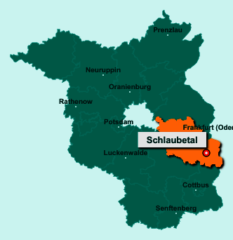 Die Karte von Schlaubetal zeigt die Lage im Landkreis Oder-Spree - Der Ort 15890 Schlaubetal liegt im Bundesland Brandenburg