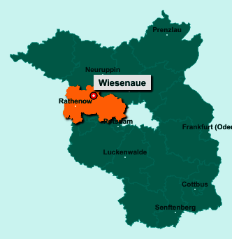 Der Lageplan von 14662 Wiesenaue zeigt die Position im Landkreis Havelland - Der Ort liegt im Bundesland Brandenburg
