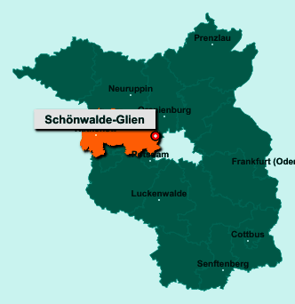 Der Lageplan von 14621 Schönwalde-Glien zeigt die Position im Landkreis Havelland - Der Ort liegt im Bundesland Brandenburg