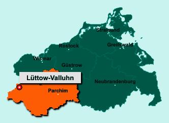 Die Karte von Lüttow-Valluhn zeigt die Lage im Landkreis Ludwigslust-Parchim - Der Ort 19246 Lüttow-Valluhn liegt im Bundesland Mecklenburg-Vorpommern