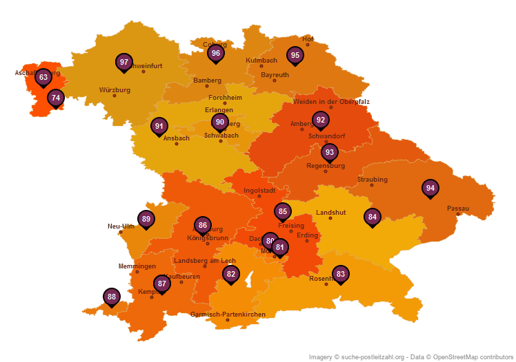 Karte Bayern.Bundesland Bayern