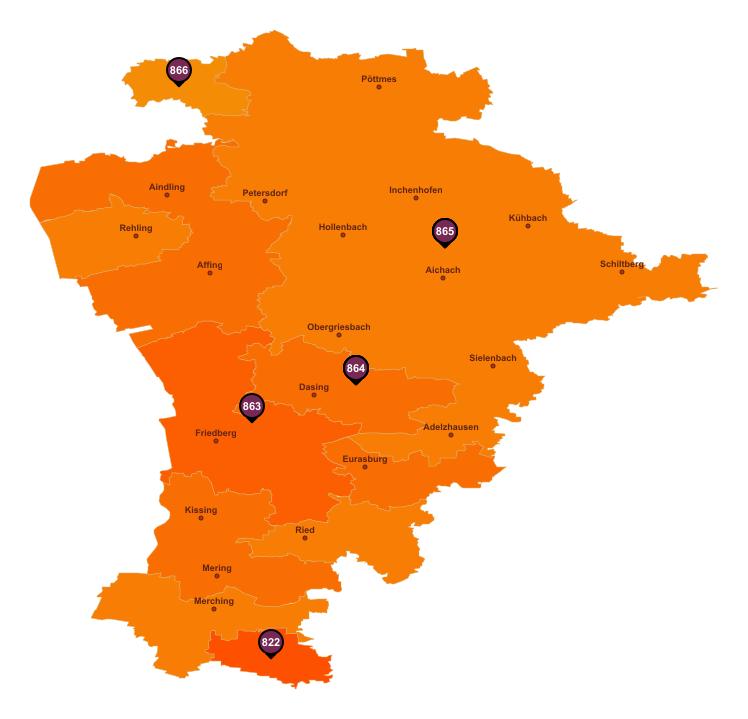 Gebietseinteilung Landkreis Aichach-Friedberg