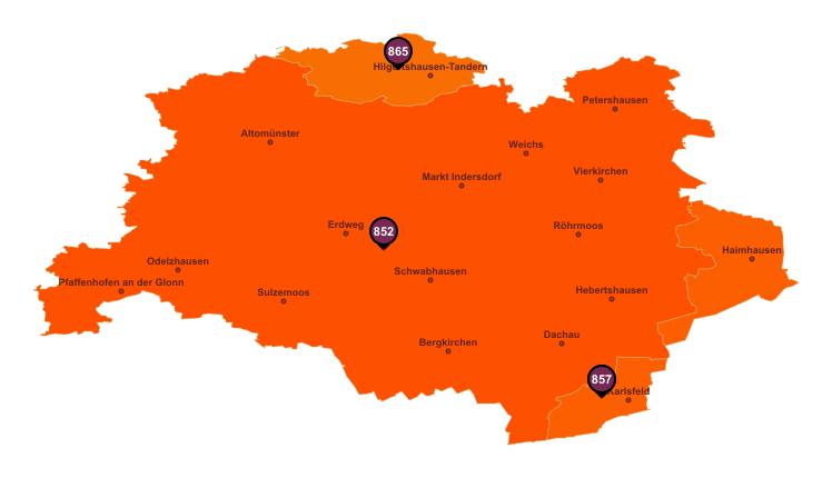 PLZ Karte Landkreis Dachau