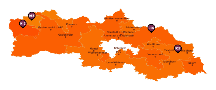 Gebietseinteilung Landkreis Neustadt an der Waldnaab