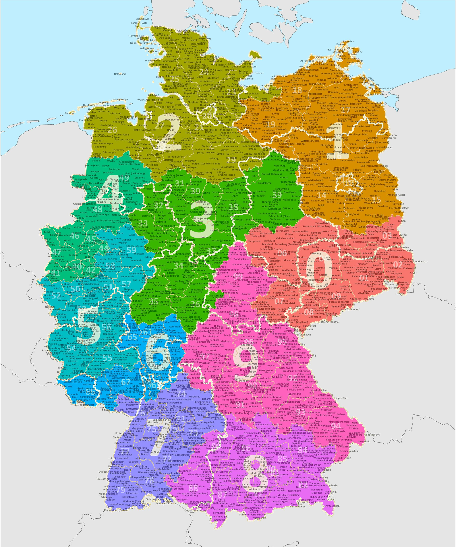 d karte deutschland Postleitzahlen Deutschland